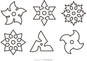 Outline Ninja Star Vectors