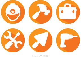Construction Tools Long Shadow Icons Vector