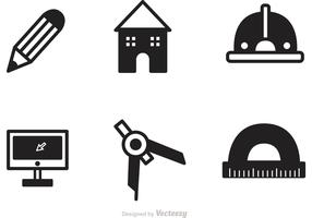 Black Architecture Tools Icons Vector