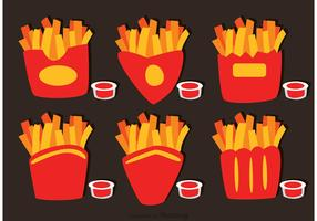 Collection Of French Fries Box Vector