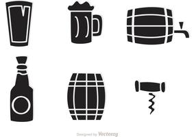 Black Whiskey Icons Vector