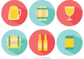 Alcohol Long Shadow Vector Icons