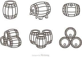 Whiskey Barrel Outline Icons Vector