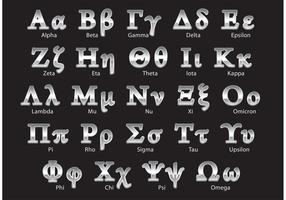 Silver Greek Alphabet Vectors
