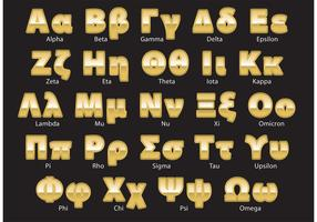 Golden Greek Alphabet Vector