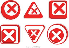 Cancelled Red Icons Vector Pack