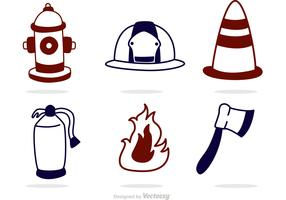 Outline Fireman Icons Vector Pack