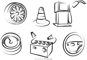 Car Service Outline Icons Vector