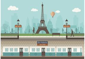 Free Paris Underground With Cityscape Vector