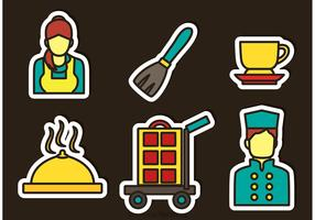Hotel Service Sticker Icons Vector