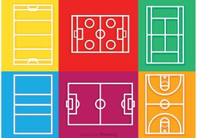 Sport Courts Outline Icons Vector