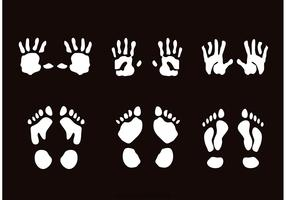 Child Handprint And Footprint Vectors