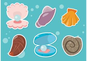 Pearl Shell Sticker Vectors