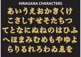 Golden Hiragana Calligraphy Character Vectors