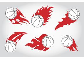 Basket Ball on Fire Vectors