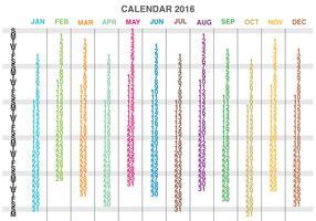 Columns Calendar 2016 Vector