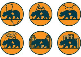 California Bear Vector Icons