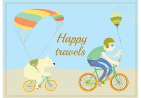 Happy Travels Cycling Character Vectors