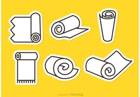 Carpet Roll Vector Outline Icons