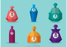 Faceted Poison Bottles Vector