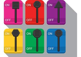 On Off Button Vector Switches