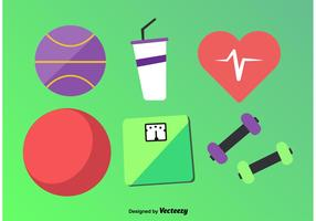 Flat Fitness Vector Icons