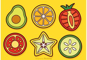 Slices Of Fruits And Vegetable Vectors
