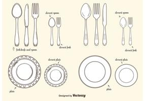 Collection Of Plates And Cutlery Vectors