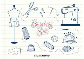 Hand-Drawn Vector Sewing Set