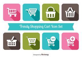 Trendy Warenkorb Icon Set