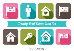 Trendy Real Estate Vector Icon Set