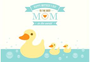 Free Mother's Day Duckies Vector Card