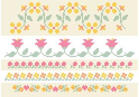 Cross Stitch Flower Border Set