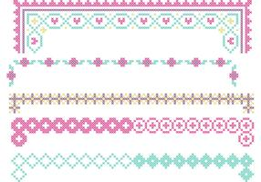 Cross Stitch Border Vector Set