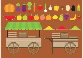 Fruits And Vegetables Vector Carts
