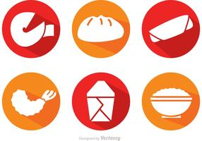 Vector Chinese Food Long Shadow Icons