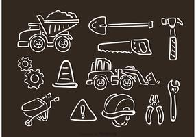 Contruction Chalk Drawn Vector Icons