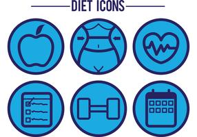 Blue Diet Vector Icons