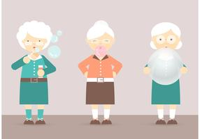 Free Grandma's Blowing Bubbles, Bubblegum And Balloon Vector