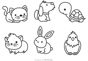 Cute Pets Outline Vector