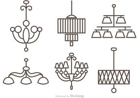 Modern Crystal Chandelier Outlne Vectors