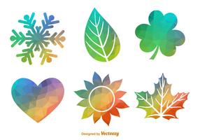 Polygonal Geometric Seasonal Icon Vector Set