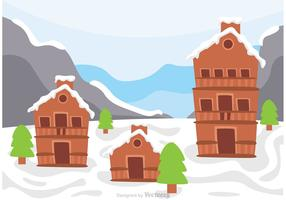 Log Cabin On Snowy Hill Vector