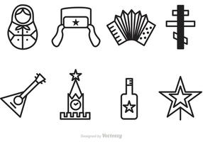Russian Outline Vector Icons