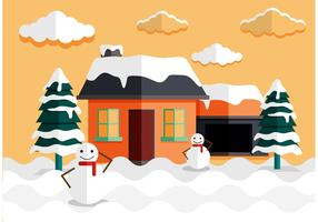 Log Cabin Snow Vector