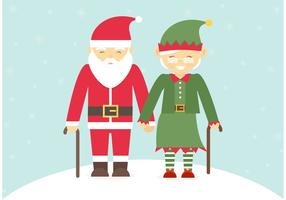 Free Senior Couple Dressed In Christmas Costumes Vector