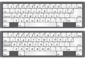 Greek Alphabet Keyboard Vectors