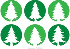 Cedar Trees Circle Vector Icons