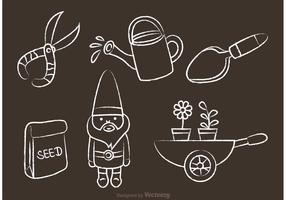Chalk Drawn Gardening Vector Icons