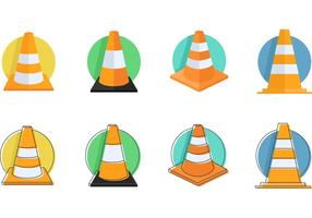 Orange Traffic Cones Vector Icons
